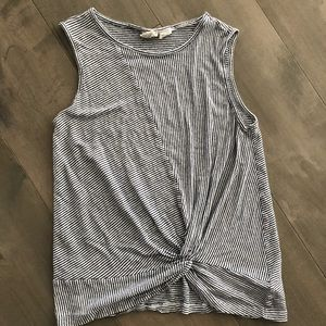 Blue and white striped linen tank